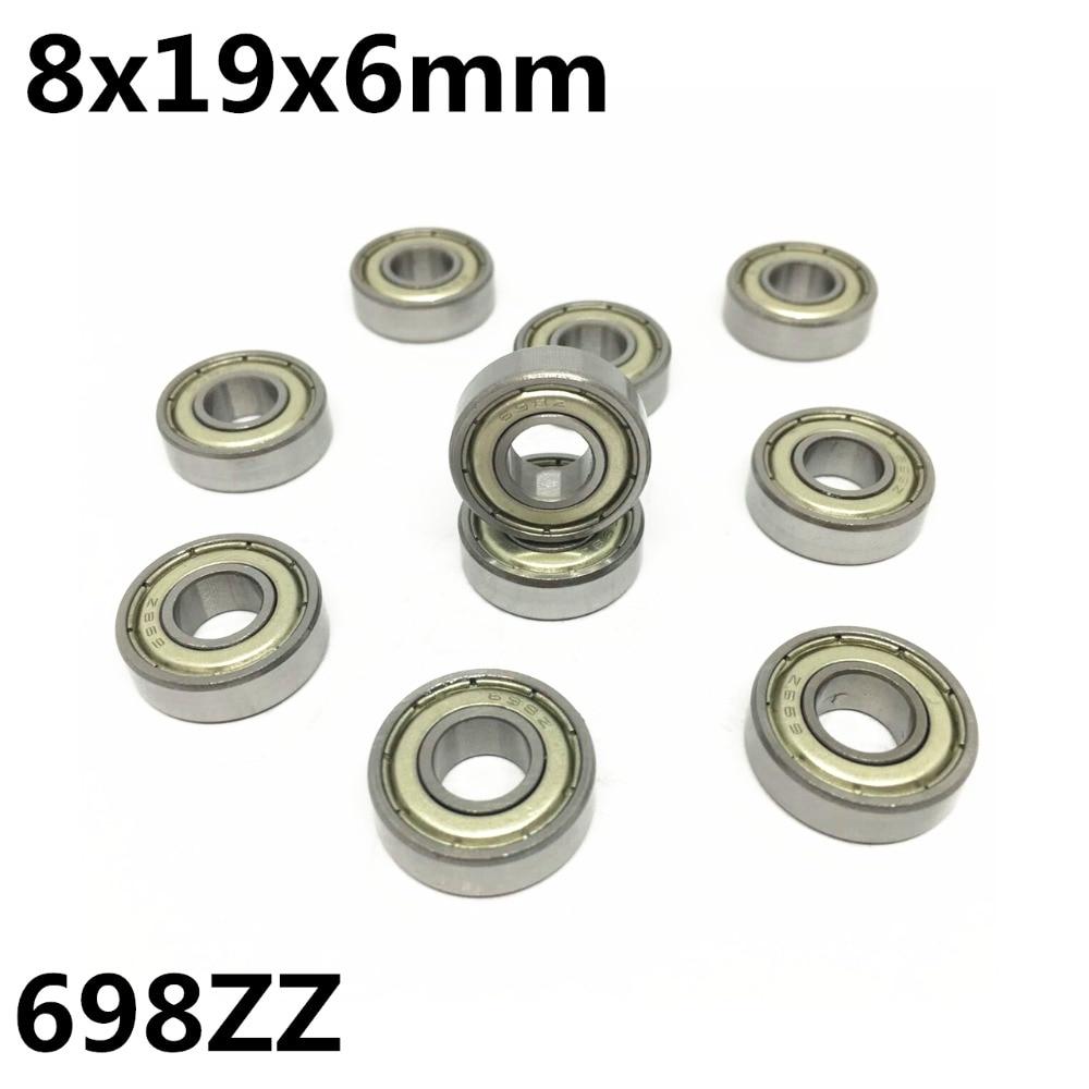 Радиальные шарикоподшипники 698ZZ 8x19x6 мм, 10 шт., миниатюрные подшипники, высокое качество, высокая скорость, улучшенный 698Z