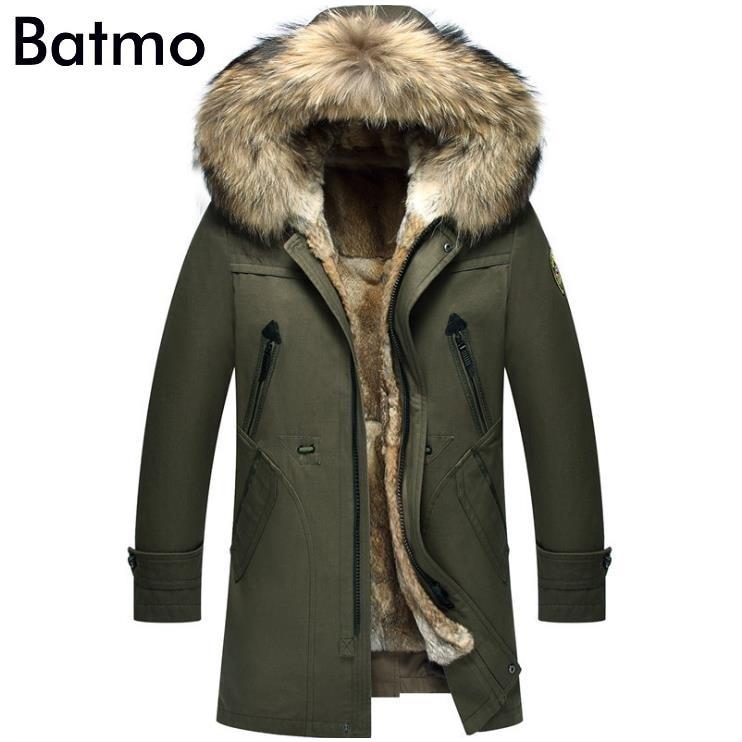 Batmo 2021 جديد وصول الشتاء عالية الجودة الدافئة الأرنب الفراء بطانة مقنعين الأزرق سترة الرجال ، الراكون الفراء طوق الشتاء معطف دافئ الرجال