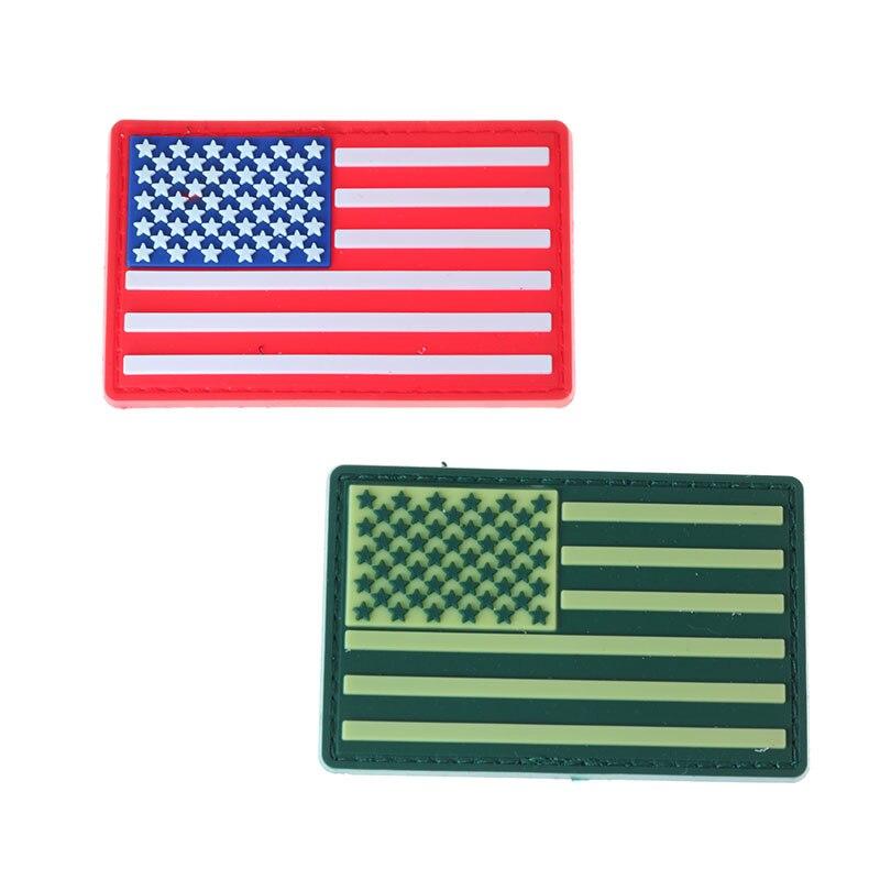 PVC de goma bandera americana 3D signo táctico rojo/Verde uniforme militar hombro ejército hebilla impermeable al aire libre Sign Badge