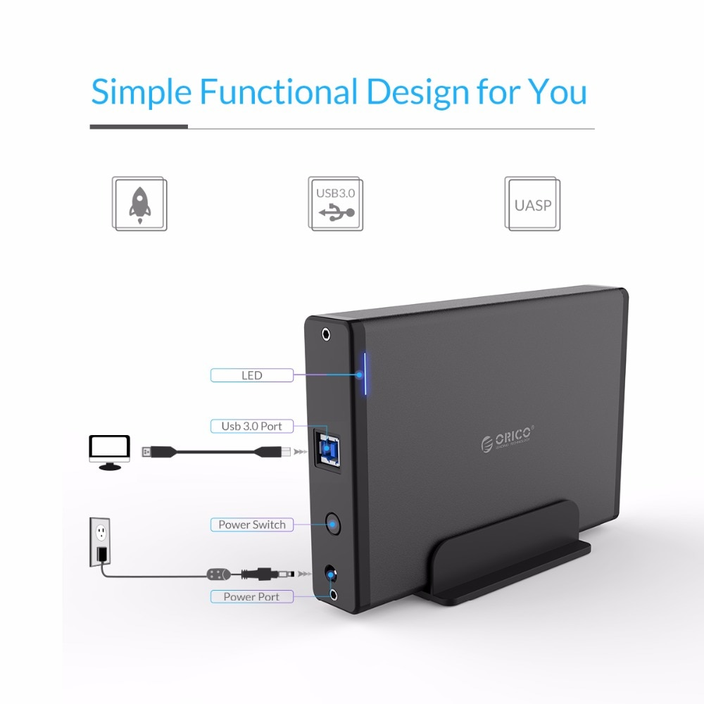 ORICO Aluminum Hard Drive HDD Enclosure USB3.0 to SATA3.0 3.5 inch HDD Case Docking Station Support UASP 12V2A Power enlarge