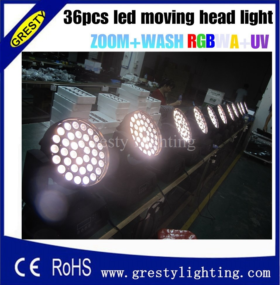 Iluminación gesite 36*18 w led cabeza móvil zoom lavar luz RGBWY UV 6in1 led lavar escenario de cabeza móvil disco de la barra de iluminación