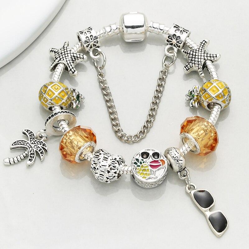 Baopon estilo de verão cor prata glassess pingente pulseiras pulseiras com corrente cobra marca pulseira para jóias femininas