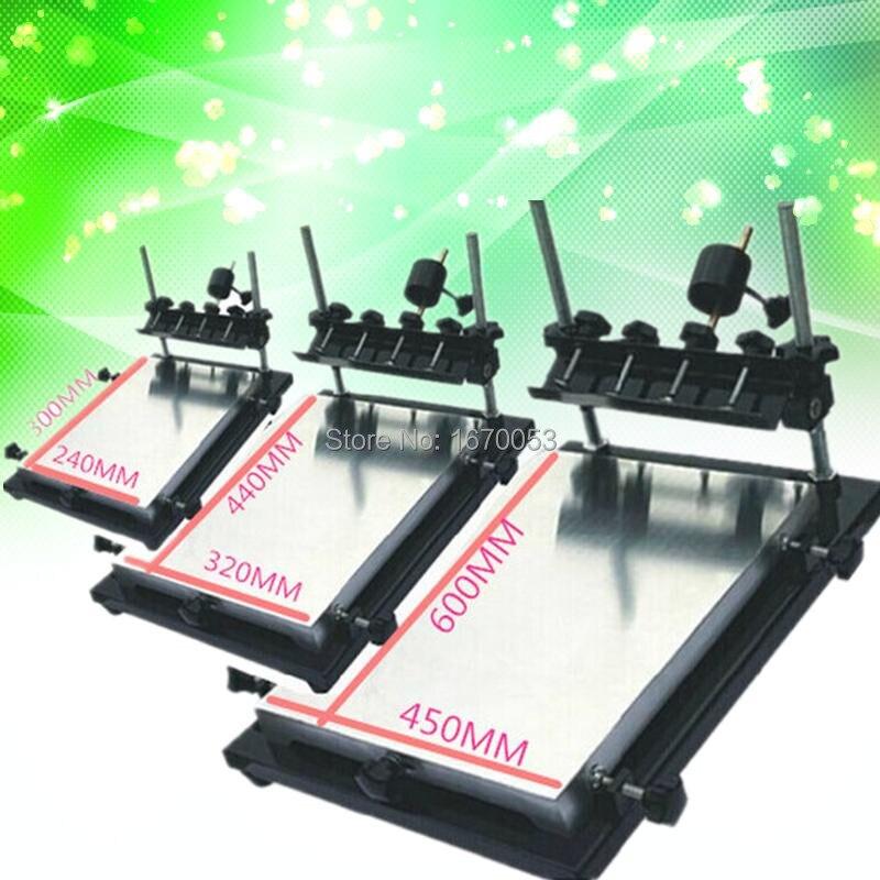 Máquina de serigrafía Manual para equipos de serigrafía de tamaño único mediano, 320MM x 440 MM, tres tamaños a elegir