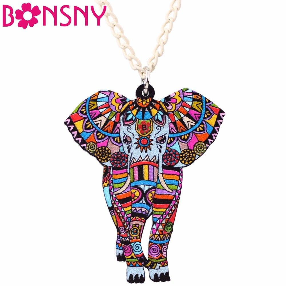 Bonsny instrução maxi acrílico áfrica jungel elefante gargantilha colar colar de corrente colar pingente 2017 moda nova jóias