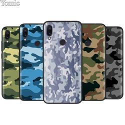 Camuflagem camo militar do exército capa de silicone para xiaomi redmi nota 8 8 t 9 s 9 10x 4g k20 k30 pro k30i 5g 6 7 8a escudo preto