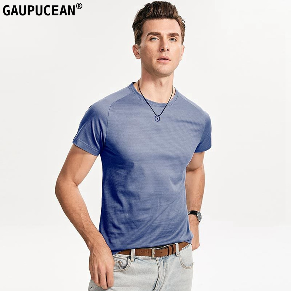 Camiseta para hombre 60% Lyocell 10% SEDA Natural 30% algodón manga corta suave transpirable moda gris verano fresco hombre cuello redondo T camisa