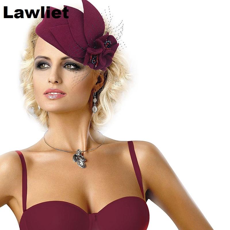 Lawliet Women Fascinator Pillbox Felt Wool Hat Formal Dress Flower Veil Hat for Cocktail Party  A131