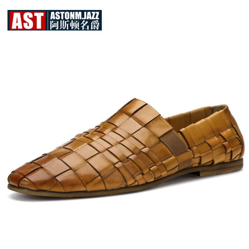 الراقية الرجال اليدوية المنسوجة أحذية من الجلد الصيف الانزلاق على لينة حقيقية أحذية جلدية بدون كعب حجم كبير 6- 12