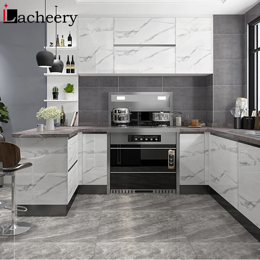 Mármore moderno auto-adesivo papel de parede porta do armário de cozinha móveis de desktop remodelado adesivos vinil papel de contato à prova dwaterproof água