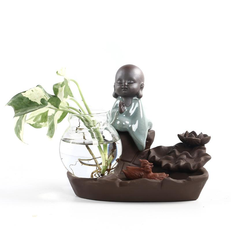 Buda Backflow incienso quemador chino manualidades planta jarrón humo cascada incienso titular aromaterapia hogar Oficina Mesa Decoración