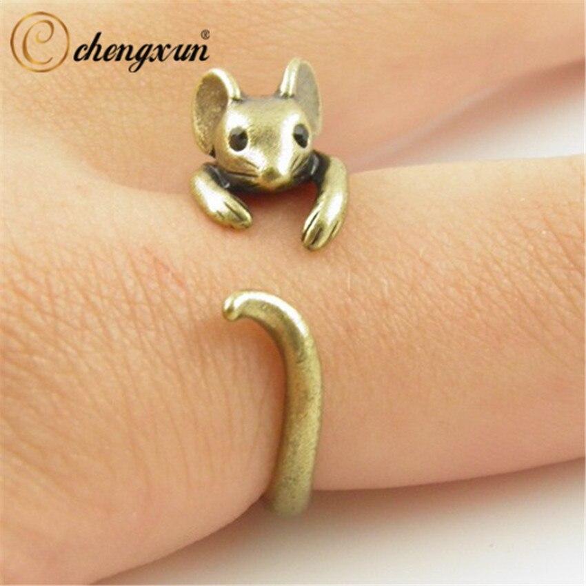 CHENGXUN бохо, винтажное, латунное, регулируемое, с мышкой, в виде животных, свадебное кольцо, для девушек, модные украшения в подарок