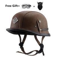 Wwii Motorcycle Helmet Vintage Half Face Helmet Retro German Chopper Cruiser Matte Black Helmets Cascos Para For Brown Dot