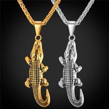 Krokodil Alligator Animal Charms Ketting Hanger Gift Trendy Sieraden Cool Rvs/Goud Kleur Ketting Voor Mannen GP1878