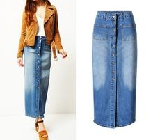 Spring Summer 2019 Denim Long Skirts For Women Plus Size Female Jeans High Waist Skirts Maxi Vintage Pencil Skirt Falda Mujer