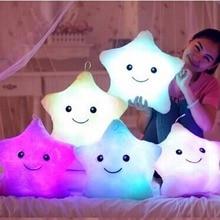 Unique 40*35cm Luminous Pillow Vivid Star Design LED Light Cushion Plush Pillow for Bedroom Birthday Gift Toy for Kids