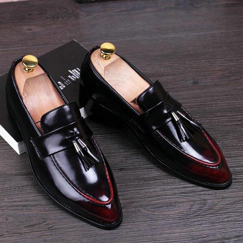 العلامة التجارية الذكور الرسمي الشقق موضة أوكسفورد البروغ أحذية رجالي أشار تو فستان الزفاف الأحذية الشهيرة شرابة الأحذية LE-12