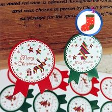 Étiquettes autocollantes Badge joyeux noël   Étiquette autocollante en papier Kraft, boîte cadeau à sceller, emballage de savon artisanal, décoration pour pâtisserie, 320 pièces