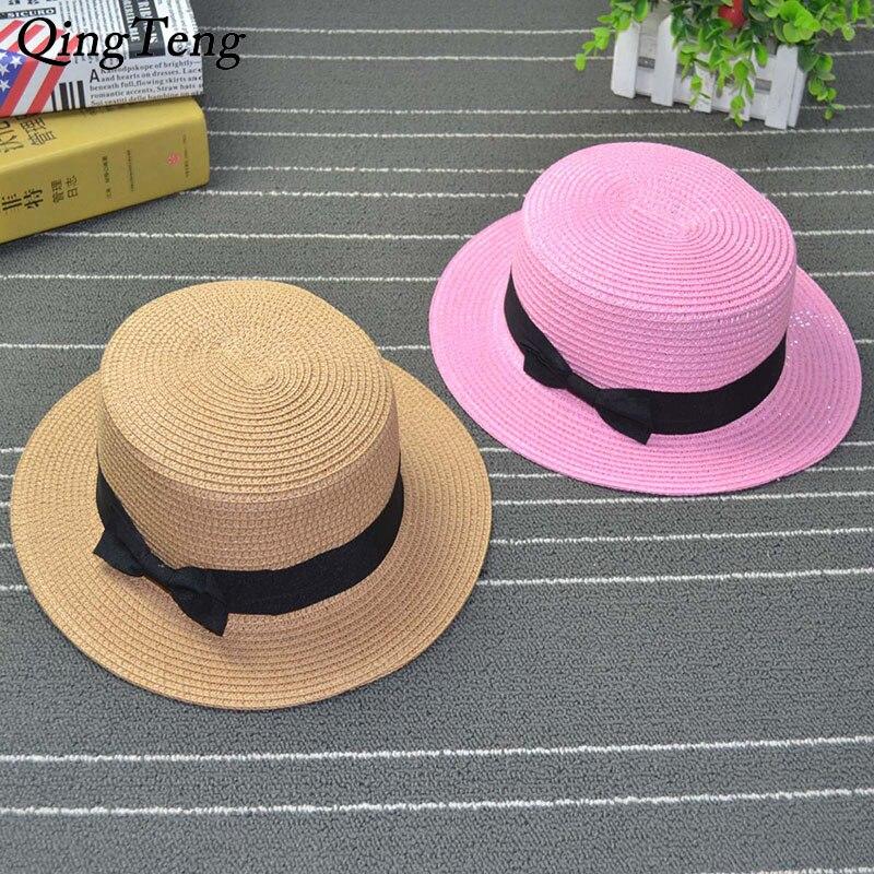 Cinta redonda plana Top sombreros de verano para mujer sombrero de paja panamá para mujeres Casual Rosa sombrero de playa para niñas Drop Shipping