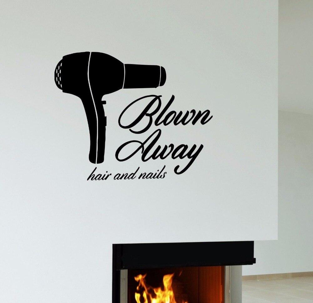 Herramientas de barbero secador de pelo y uñas peluqueros corte de pelo salón tienda de salón de belleza arte de pared vinilo adhesivo para ventana calcomanía B034