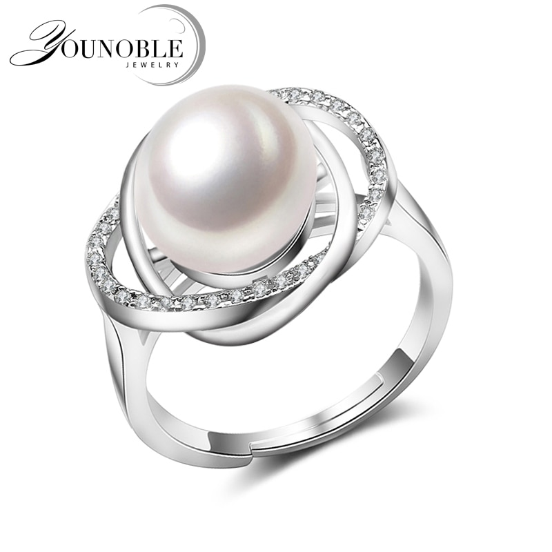 fashion natural pearl rings 925 sterling silver pearl ring adjustable white freshwater pearl ring butterfuly women birthday gift Real Freshwater Pearl Rings Women,White Black Adjustable Cultured Pearl Rings 925 Silver Jewelry Mom Birthday Gift