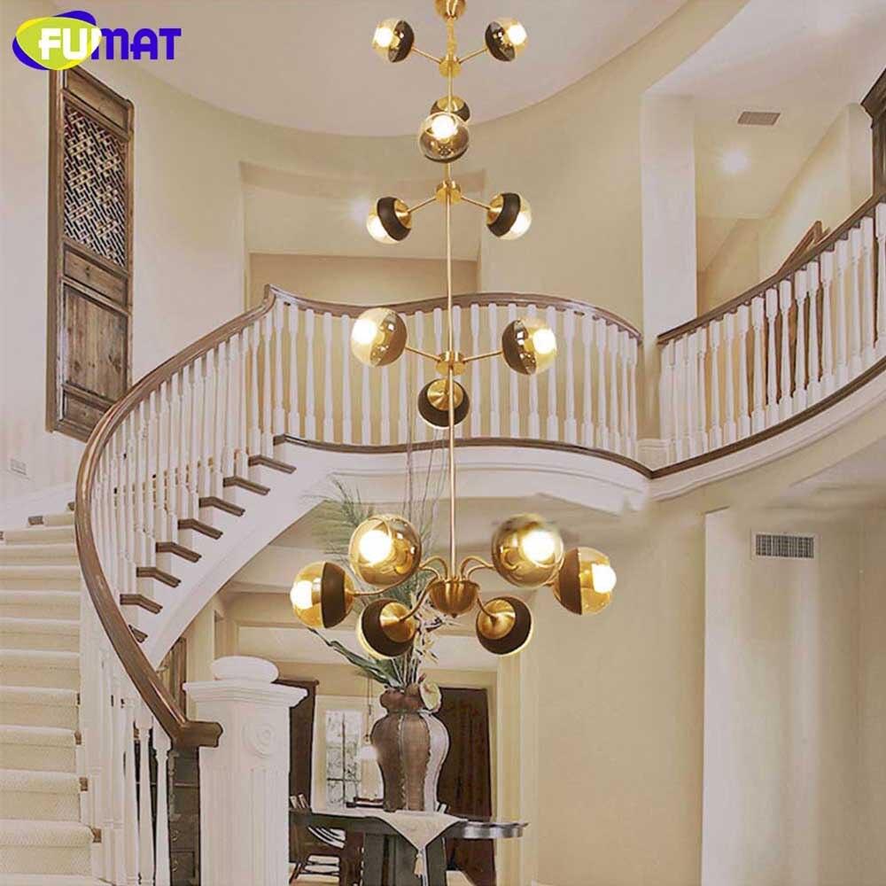 FUMAT Mordern European Chandelier Brass LED Chandelier Lighting Indoor Light Lamp for Living Room Restaurant Villa Hall