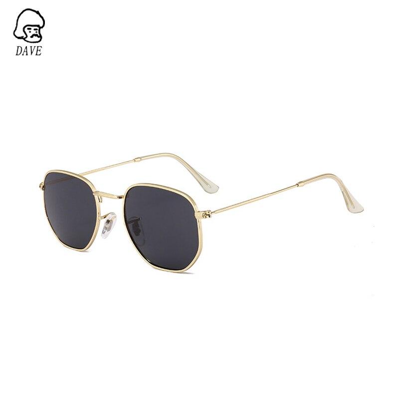 DAVE Gafas De Sol clásicas Retro Polygon Pilot, Gafas De Sol para mujer, lentes recubiertas, montura metálica, Gafas De Sol pequeñas para hombres, Gafas De Sol UV400