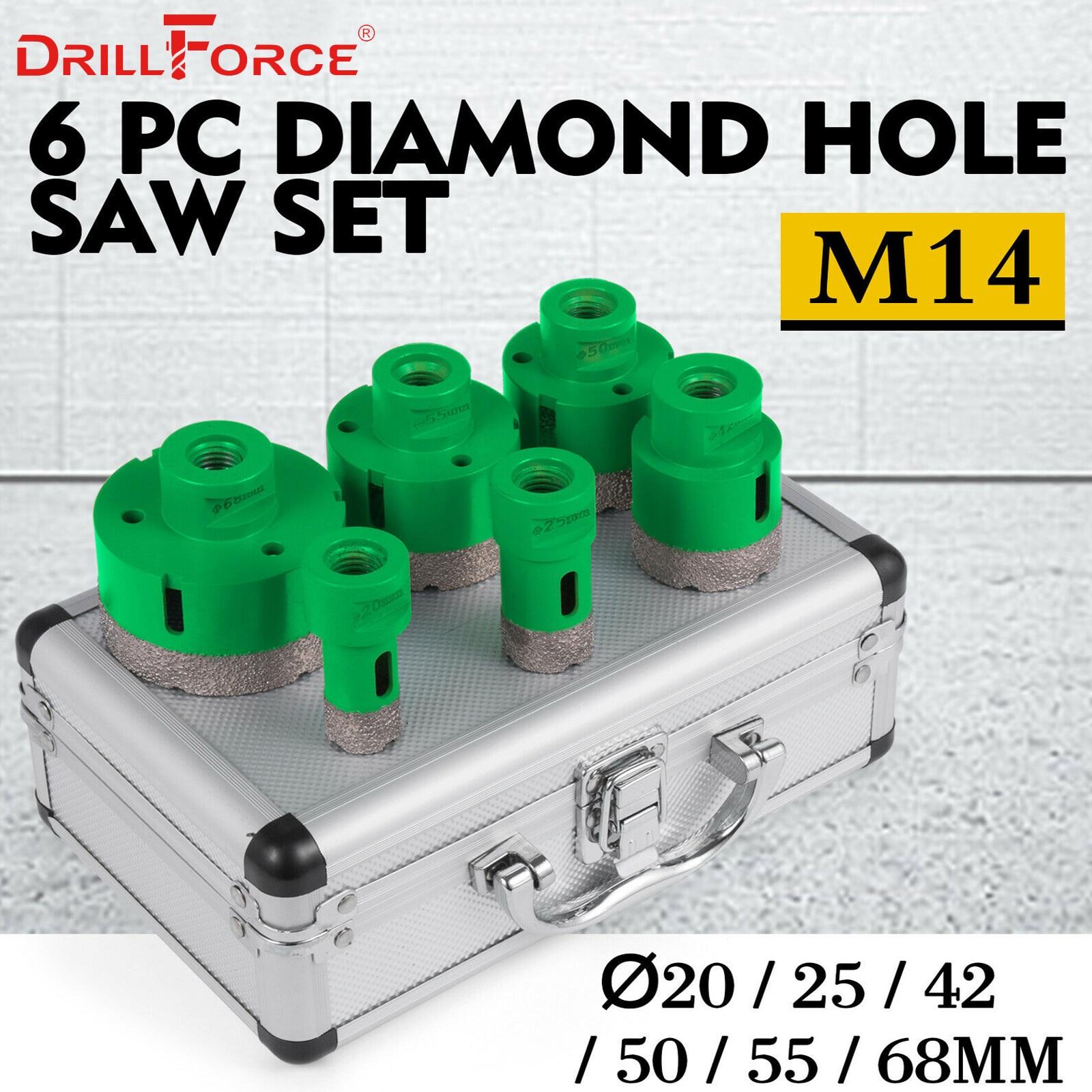 Drillforce 6 piezas de agujero sierras de 20/25/42/50/55/68mm M14 durable Carborundum cerámica M14 hilo Taladro de núcleo