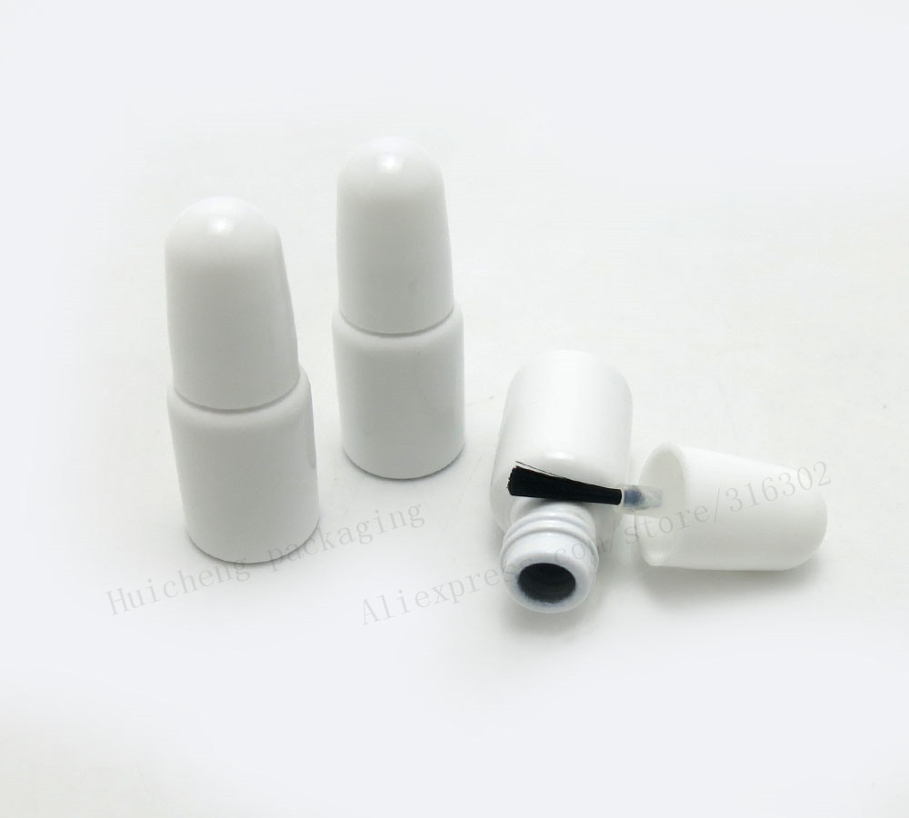 Cepillo de botellas de vidrio blanco vacío MINI 3ML tapa 1/10OZ esmalte de uñas manualidades 100 Uds