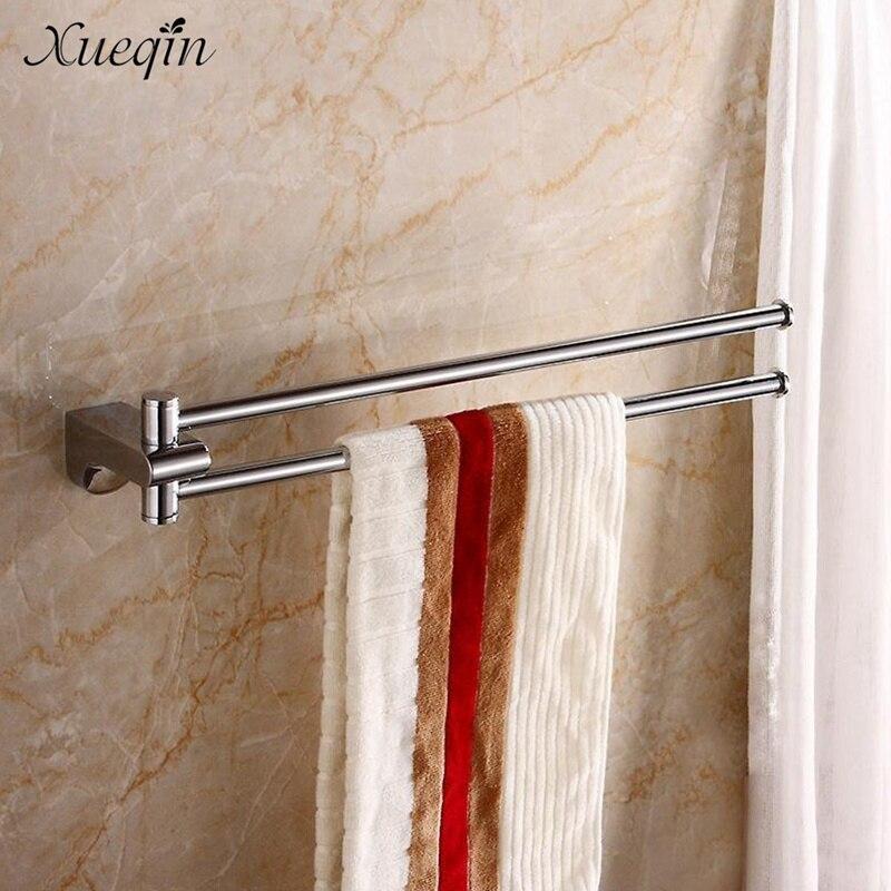 Envío Gratis xueqin barra doble para toallas de cuarto de baño rail de suspensión Toalla de baño ropa pijamas estantes de almacenamiento Rack Bar