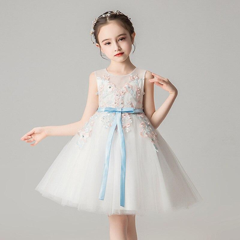 De Daminha/очаровательные свадебные вечерние платья для маленьких девочек Летняя сетчатая детская одежда с цветочным рисунком детское бальное ...