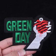 Pulaqi yeni yeşil gün işlemeli elbise yamalar giyim demir On yamalar aplike F