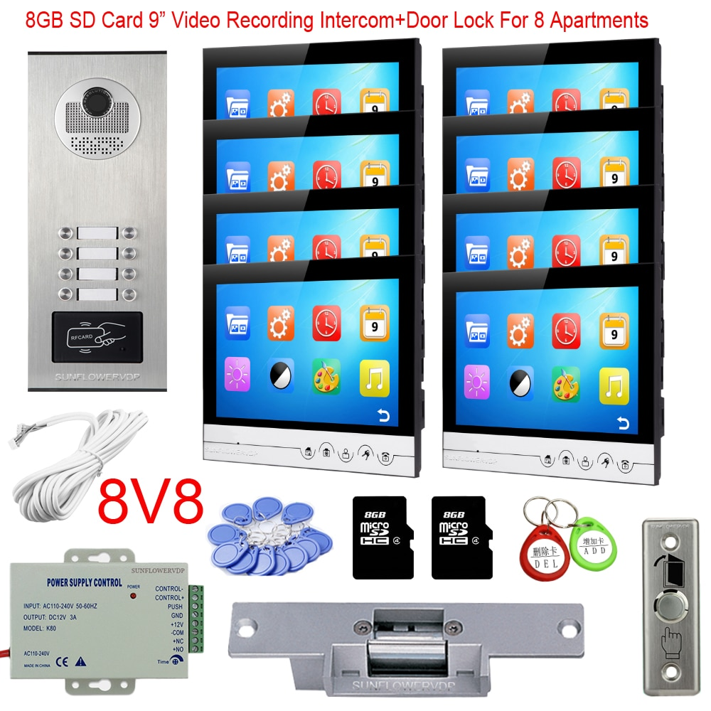 camera rfid 8 10 12 botoes de chamada gb gravacao de video interfone com camera 8