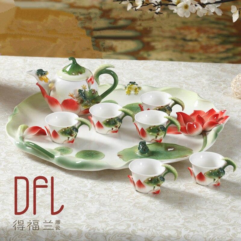 Набор для чая, 8 шт., китайский, кунг-фу, эмалированный, фарфоровый, высококачественный керамический чайник, европейские чайные кофейные круж...