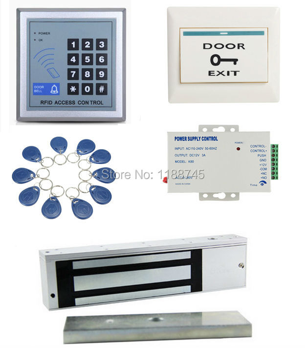 Completa Completa 1 Kit Sistema de Entrada De Controle De Acesso de Segurança Da Porta Com Força de £ 1100 500 KG Fechadura Magnética Elétrica