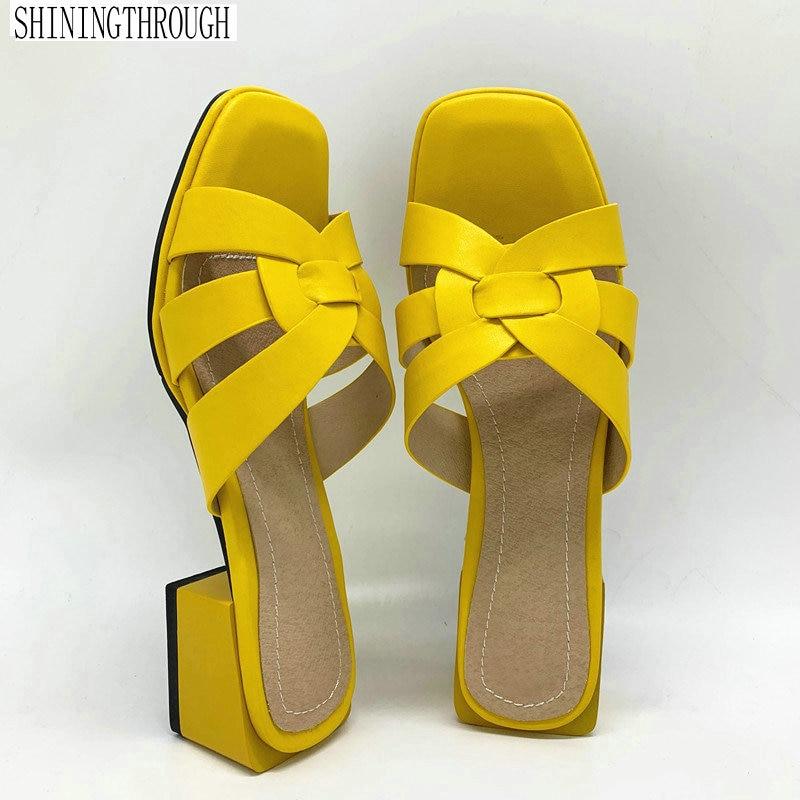 جديد النساء النعال بولي leather الجلود 4.2 سنتيمتر ساحة الكعوب النعال المفتوحة تو النساء الصنادل الوردي الأزرق الأصفر السيدات حذاء كاجوال امرأة
