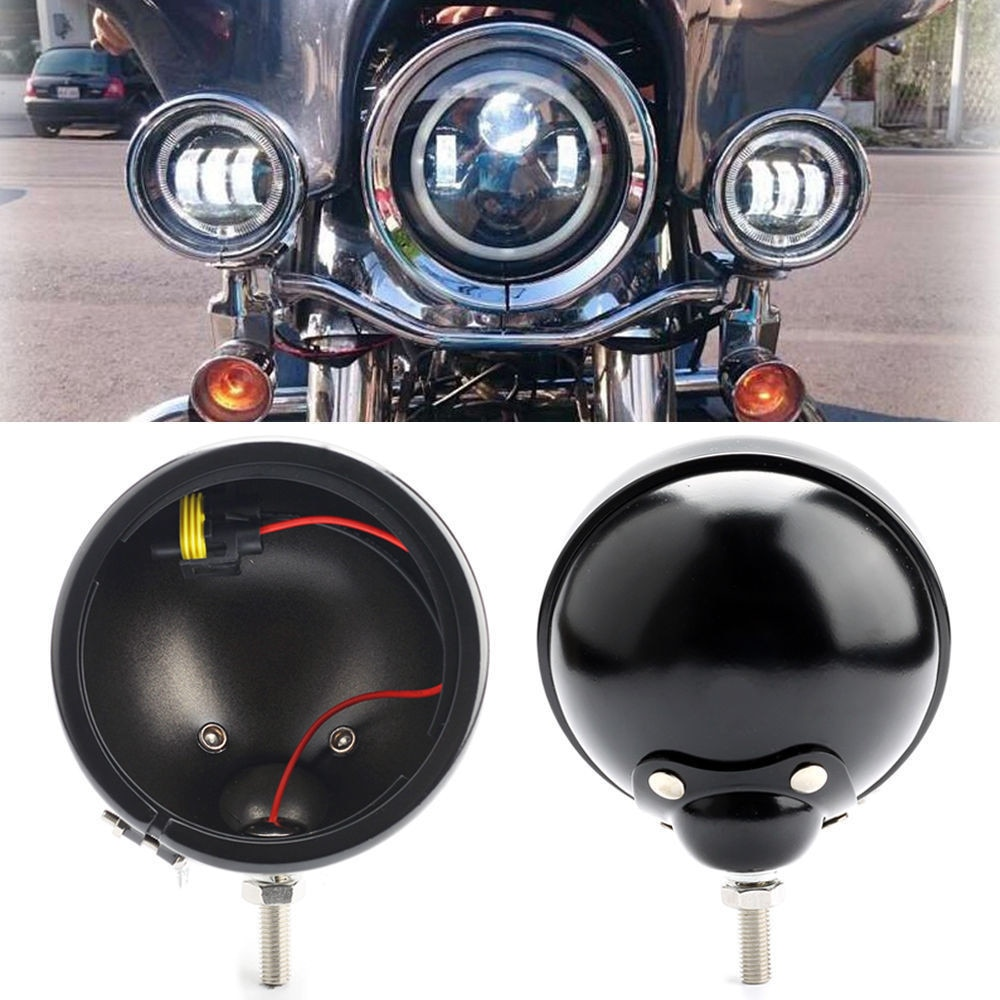 4,5 дюймовый корпус Кронштейн кольцо ведро противотуманный фонарь лампа для Harley sportster XL 1200 XL883 Dyna (черный/хром)