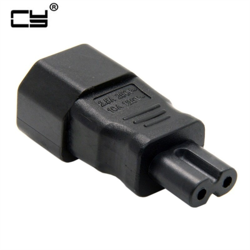 IEC 320 C14 Chaleira 3-Pin Macho Para Fêmea C7 Poder Conversor Adaptador Plug-Socket-Y122