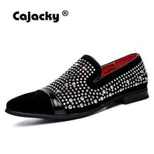 Cajacky Diamond Men Dress Loafers Shoes Luxury Brand Wedding Loafers Flats Slip on Rhinestone Velvet Dress Shoes Black Pointed