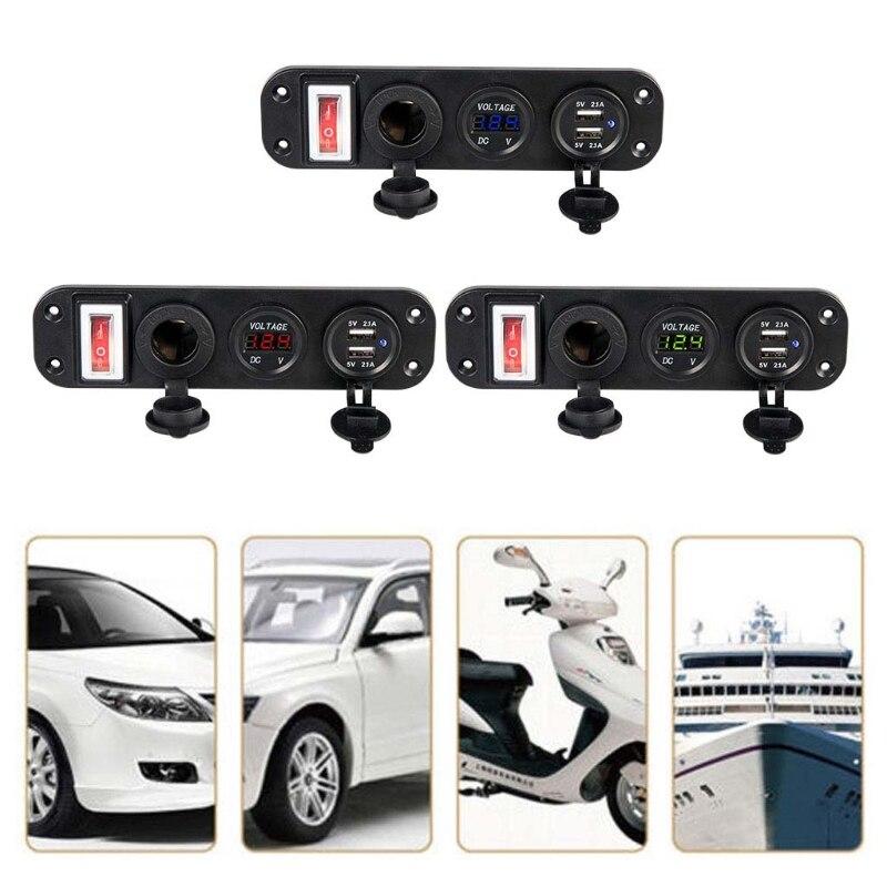 1 Set Car Charger Dual USB Adapter DC 12V Cigarette Lighter Socket Plug With LED Voltmeter On Off Switch for Car Boat W91F