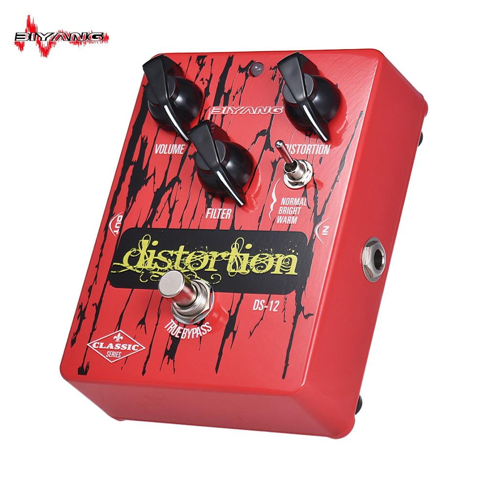 Alta calidad BIYANG DS-12 serie clásica distorsión guitarra efecto Pedal 3 modos True Bypass carcasa completa de Metal