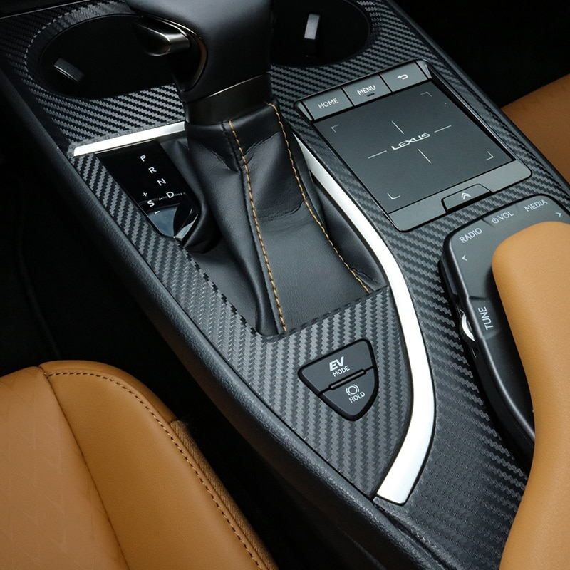 pcmos Carbon fiber Inner Gear Shift Frame Cover Trim For Lexus UX200 UX250h 260h 2019 Automotive Interior Stickers 2Pcs/set