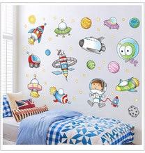 Space Astronaut Cartoon Wall Sticker Kids Room Decoration Bedroom Art Background Baby Autocollant Mural
