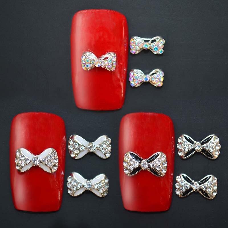 Venta caliente 3 unids/set arte de uñas Consejos Deco arco nudo joyería de aleación Multicolor diamantes de purpurina para uñas arte Decoración