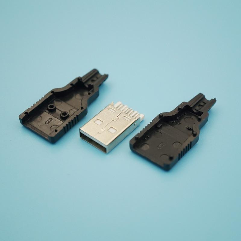 500 قطعة 3 في 1 USB 2.0 نوع ذكر مجموعة جاك محول موصل قابس نوع لحام مع غلاف بلاستيكي أسود