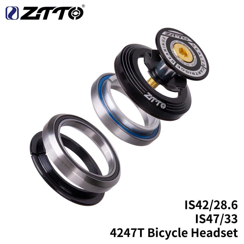 "MTB Road Fahrrad Headset 42mm 47mm CNC 1 1/8 ""-1 1/4"" 1,25 zoll 33mm kegel Rohr gabel IS42 47 Integrierte Schrägkugellager"
