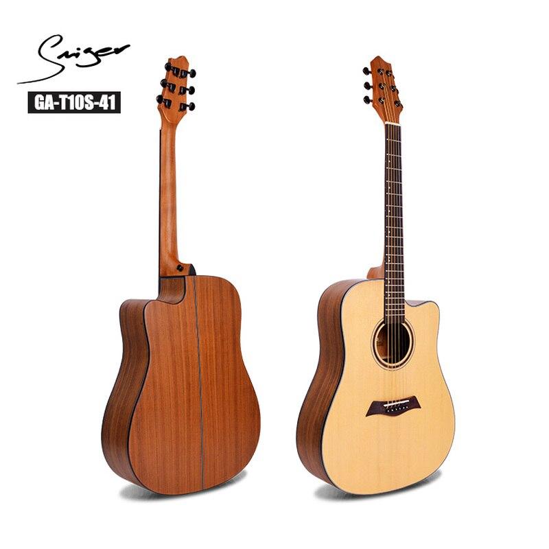 Guitarra Abeto Maciço Violão Sapele 41 Polegada D-Corpo de Aço-Corda Guitarra Elétrica Cordas 6 Pop Folk Cutaway cor de madeira Guitarra