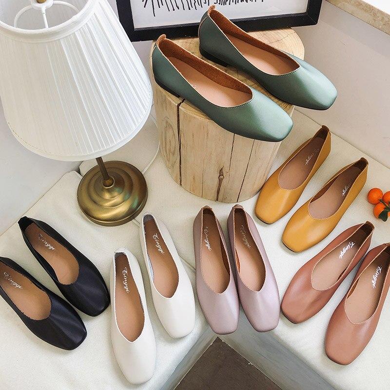 Zapatos planos sin cordones de primavera, mocasines de mujer de Color caramelo, zapatos náuticos de punta cuadrada, zapatos de mujer, zapatos Oxford, romeetse 7390