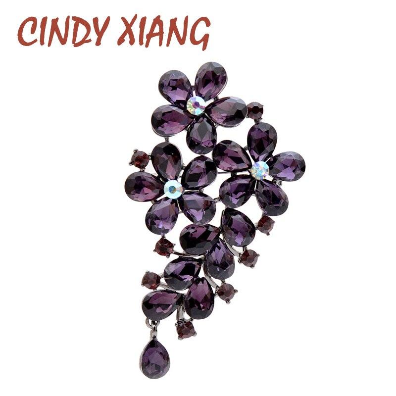 Женская брошь CINDY XIANG в форме фиолетовых цветов из хрусталя, элегантное, красивое, осеннее украшение на пальто