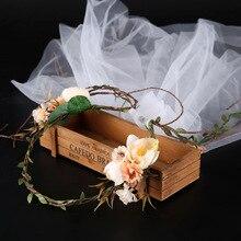 FORSEVEN Boho Flower Crown Garland Floral Bridal Wreath with Lace Bride Veil Decoration Women Girl Wedding Hair Accessories JL