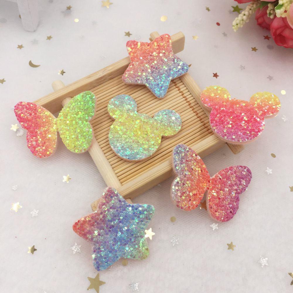 ¡Nuevo! 16 Uds. Parches de Apliques de fieltro brillante de arco iris Paillett Mashup para la cabeza de los niños DIY boda sew SA511